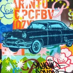 1950 Mercury: acrylic, marker, spray paint, and screen print on canvas.