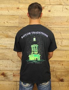 The Baylor Traditions run deep with this Comfort Color short sleeve. Baylor University Pat Neff Hall at Night.
