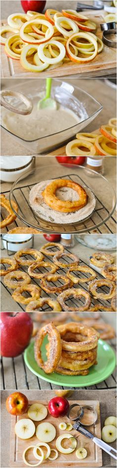 Apple Cinnamon Rings... Ingredients: 1 cup all-purpose flour 1/4 teaspoon baking powder 1/4 teaspoon salt 1 cup plain yogurt ( I use Dannon ) 1 large egg 6 cooking apples, like Granny Smith, sliced into 1/4-inch thick slices Canola Oil for Frying 1/2 cup sugar 1 to 2 teaspoons cinnamon