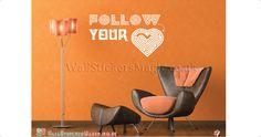 Follow Your Heart Vinyl Wall Sticker Vinyl Decals Wall Art Transfers-Removable