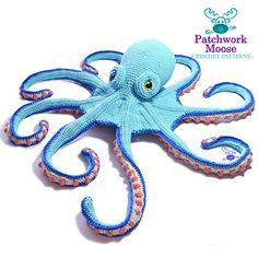 """Claude the Octopus - crochet pattern by """"Patchwork Moose"""" Kate Hancock! Made in aran-weight, his head is about 9 inches and he spans about 45 inches from tentacle tip to tentacle tip. But you can make him any size by changing yarns and hooks. Pattern via ravelry"""