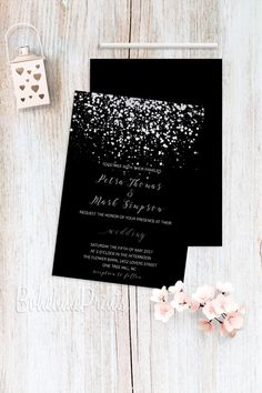 Silver Wedding Invitations Black Wedding by BohemePrints on Etsy #silver #black #wedding #invitation #elegant  #invite  https://www.etsy.com/listing/510017289/silver-wedding-invitations-black-wedding?ref=shop_home_active_8