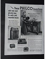 "From Amazon.com. Click for details:  Philco Radio-Phonograph, full page print ad. 10 1/2"" x 13 1/2"" Illustration (woman with record in hand/music on a beam of light)Original 1940 Colliers Magazine Print Art."