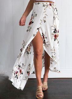 Casual High Slit Floral Printed Irregular Skirt - OASAP.com