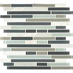 "Buy 12 in. x 12 in. Myrtle Arabescato Cararra Keystone Blend Mesh-Mounted Glass Mosaic Tiles - THDW1-SH-KBI-8MM at marble n things 1/2"" x Random Strip, Bathroom Walls, Kitchen Backsplash, Shower Walls, Living Room Floor from marblenthings.com Online Store"