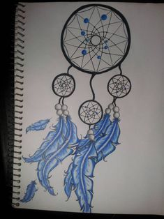 Back Tattoo Women, Back Tattoos, Girl Tattoos, Tattoos For Guys, Tattoos For Women, Tatoos, Dream Catcher Drawing, Blue Dream Catcher, Dream Catcher Tattoo Design