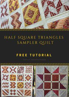 16 Half Square Triangles (HST) sampler quilt - free pattern