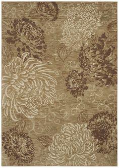 "HGTV HOME Flooring by Shaw Area Rug ""Vintage Bloom"" color Gold"