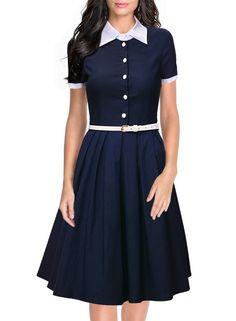 Miusol Women's Polo Neck Contrast Retro Short Sleeve Business Swing Dress