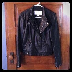 MAKE ME AN OFFER Ⓜ️ BRAND NEW Faux Leather Stud Studded Moto Jacket. High quality motorcycle military jacket. Gunmetal accents. Punk princess. Rock rebel. Size xs but could fit small maybe even medium. Gothic steampunk Biker chick Rock rebel Punk princess Moto Combat Too fast Iron fist Hot topic Hell bunny Betsey Johnson $75 on Ⓜ️ercari. Make an offer? Listed Bebe for views. bebe Jackets & Coats