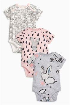 Lot de trois bodies Dreamer Bunny gris/rose/blanc à manches courtes (0 mois - 2 ans)