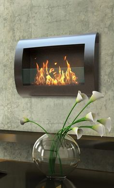elegant curved design indoor ventless wall  fireplace, firepits, fireplaces