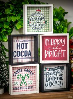 DIY Dollar Tree Signs | How to make small signs for tiered trays | Free printable Christmas signs | DIY Tiered Tray sign with Dollar Tree supplies | Free Christmas Printables | Free Printables for the Dollar Tree frames | Easy DIY Christmas decorations | How to decorate tiered trays | Free vintage Holiday printables | #TheNavagePatch #FreePrintables #EasyDIY #DIYChristmasCrafts #DollarStore #DollarStoreCrafts #DollarTreeDIY #FreeChristmasPrintables | TheNavagePatch.com Christmas Signs, Christmas Crafts, Christmas Ideas, Free Christmas Printables, Free Printables, Tree Crafts, Diy Crafts, Dollar Tree Frames, Diy Christmas Decorations Easy