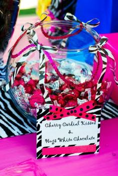 Design Dazzle: Black, Pink and White Zebra Party! Pink Zebra Birthday, Zebra Party, Baby 1st Birthday, Birthday Party Themes, Birthday Ideas, Chocolates, Party Rock, Candy Party, Party Planning