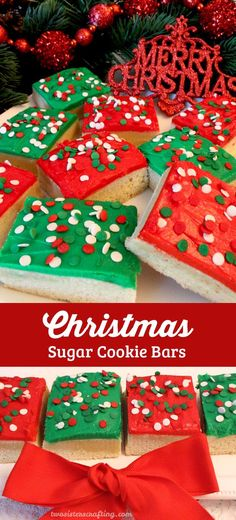 A unique take on a Frosted Sugar Cookie these Christmas Sugar Cookie Bars are delicious easy to make and will be an instant family favorite Christmas Dessert. Make your family a Christmas Treat that they are sure to love! And follow us for more more great Christmas Cookies ideas.