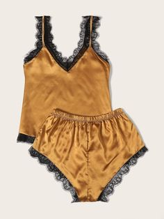 To find out about the Eyelash Lace Satin Pajama Set at SHEIN, part of our latest Pajama Sets ready to shop online today! Satin Pyjama Set, Satin Pajamas, Pajama Set, Pyjamas, Lingerie Sleepwear, Nightwear, Night Pajama, Satin Cami Top, Cute Pjs