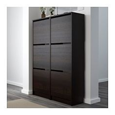 IKEA - BISSA, Shoe cabinet with 3 compartments, black/brown, , Helps you organize your shoes and saves floor space at the same time.You can easily adjust the space in the shoe compartments by moving or taking away the dividers.In the shoe cabinet your shoes get the ventilation and the space they need to keep them like new longer.