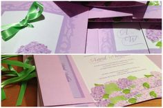 Faire-part mariage nœud fleur hortensia Ribbon bow Wedding invitation L'Atelier d'Elsa www.latelierdelsa.com