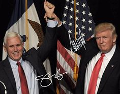 Donald Trump & Vice President Mike Pence Hand Raised Victory Autographed Signed Preprint 11x14 Poster Photo