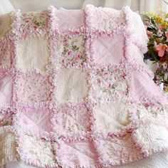 Baby Rag Quilt Shabby Rose