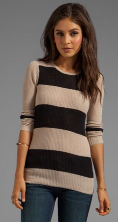 Love the sweater, but the placement of second tan stripe would look awful on anything less than perfect abs.