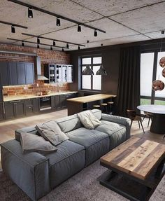 Most Popular Living Room Design Ideas for This Year! Part 52 Most Popular Living Room Design Ideas for This Year! Part living room design ideas; Apartment Layout, Apartment Interior, Interior Design Living Room, Living Room Designs, Modern Loft Apartment, Loft Apartments, Industrial Apartment, Modern Lofts, Interior Livingroom