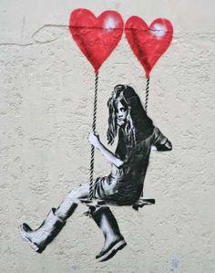 Banksy artwork depicting a girl swinging with two heart shaped helium balloons a. Banksy artwork depicting a girl swinging with two heart shaped helium balloons above The Bristol Fine Art Shop, Bris Banksy Graffiti, Street Art Banksy, Banksy Artwork, Bansky, Graffiti Wall, Banksy Paintings, Banksy Prints, Berlin Graffiti, Art Paintings