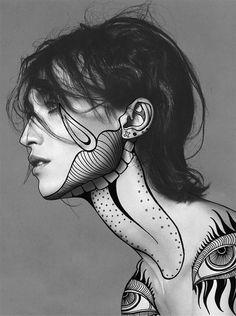 Splendide illustrazioni su foto, finti tatuaggi su visi e corpi e intricati pattern realizzati dall'artista newyorkese Alana Dee Haynes