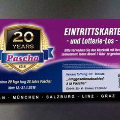 Pascha     20 Jahre Pascha Eintrittskarte 12.1. Pascha, 20 Years, Linz