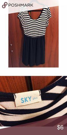 Navy blue striped dress Navy blue striped dress - no size on tag. Fits 16/18 IMO Dresses Mini