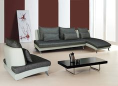 Living : Contemporary Grey / White 3PC Living Room Set - Furniture Boutique