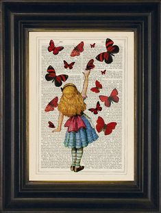 Alice releases red butterflies on antique enclopaedia page €20 from JamArtPrints.com Alice in Wonderland inspired