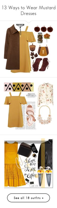 """""""13 Ways to Wear Mustard Dresses"""" by polyvore-editorial ❤ liked on Polyvore featuring waystowear, mustarddresses, Yves Salomon, Elorie, Topshop, MaxMara, Chloé, Dorothy Perkins, Miu Miu and dresses"""