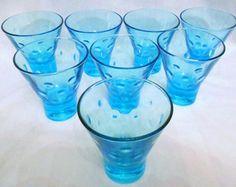 8 Vintage Hazel Atlas Capri Dots Aqua Turquoise Blue Atomic Lowball Glasses Hollywood Regency Mid Century