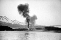 Smoke rises from burning port installations at Narvik, Norway, after a bombardment by HMS CAIRO, 8 June Two Steps From Hell, Narvik, Tromso, Lest We Forget, D Day, Cairo, Armed Forces, World War Two, Wwii