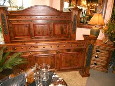 Handcrafted from solid alder wood and distressed to give it a more rustic look! Bed shown with a dark walnut stain and red glaze. Western Furniture, Rustic Furniture, Bedroom Furniture, Mountain Style, Mountain High, Dark Walnut Stain, Westerns, Master Bedroom, Colorado