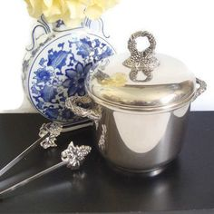 Silver Plate Ice Bucket & Tongs Godinger Insulated by RamblinRanch
