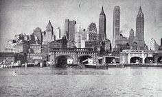 lower manhattan looking north from governors island may 1940 by eralsoto Manhattan Skyline, Lower Manhattan, New York Skyline, New York Pictures, New York Photos, Unique Buildings, Beautiful Buildings, Harlem New York, Vintage New York