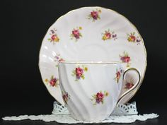 Pink Vintage Tea Cup Tuscan Cup and Saucer by TheVintageTeacup