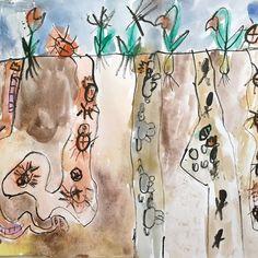 Cestičky pod zemí. Vytvořili předškoláci v našem výtvarném studiu. Reusable Tote Bags, Shower, Prints, Rain Shower Heads, Showers