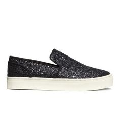 Glittery sneakers with twill trim and rubber soles.