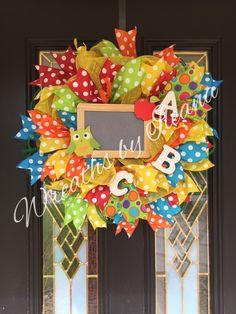 ready for Back to School #backtoschool #schoolwreaths Wreaths by Ileana https://www.facebook.com/pages/Wreaths-by-Ileana/690079201