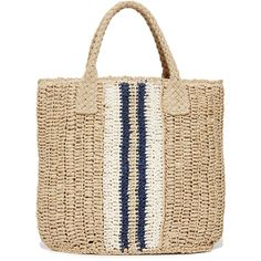 Hat Attack Striped Bag (385 MYR) ❤ liked on Polyvore featuring bags, handbags, stripe purse, top handle bags, striped handbags, basket weave purse and white purse