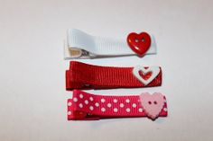 Valentines Day Trio Hair Clippie/non slip by mycutesies on Etsy, $3.50