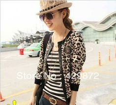 Free Shipping 2013 Autumn Plus size Womens Leopard Print Long sleeve Patchwork With Pu Leather Short Jacket jaqueta chaqueta  $17.98