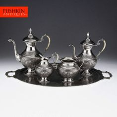 ANTIQUE 20thC PERSIAN ISLAMIC SOLID SILVER COFFEE & TEA SET ON A TRAY c.1910