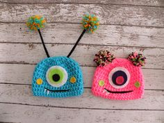 TWIN Monster hats. Boy/Girl Twin Monster by TrebleStitchBoutique