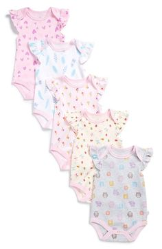 ROSIE POPE Print Bodysuits (Set of 5) (Baby Girls) available at #Nordstrom