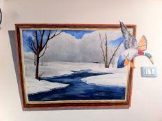 quadro dipinto direttamente su muro con acrilici