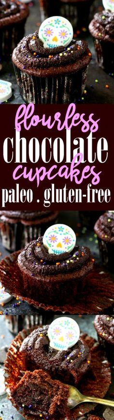 I have been making these Flourless Paleo Chocolate Cupcakes for years. Theyre simply the best my kiddos love them theyre so easy and theyre even super healthy. Who knew a chocolate cupcake could taste amazing and still be healthy? Paleo Dessert, Healthy Dessert Recipes, Cupcake Recipes, Real Food Recipes, Delicious Desserts, Cupcake Cakes, Paleo Cupcakes, Sweets Recipes, Flourless Chocolate